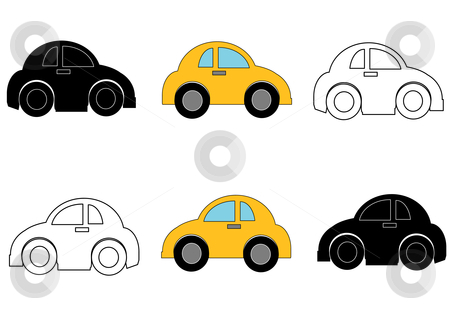 Small Cars Right and Left stock vector clipart, Vector Illustration of caricatures of compact economy cars in right and left profile. by Robert Gebbie