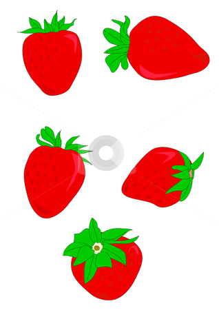 Strawberries stock vector clipart, Vector illustration of red ripe strawberries with green tops. by Robert Gebbie