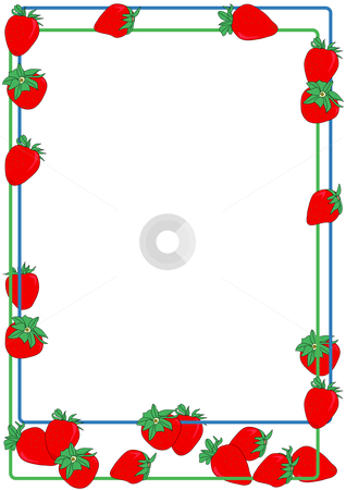 Strawberry Border stock vector clipart, Hand drawn vector illustration of a strawberry border design. by Robert Gebbie