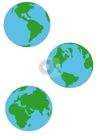 Three Earth Globes stock vector clipart, Vector Illustration of three blue and green globes of Earth. Various viewpoints. by Robert Gebbie