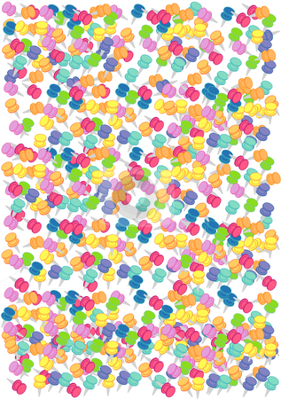 Thumb Tack Background stock vector clipart, Vector Illustration of a variety of colorful push pins. by Robert Gebbie