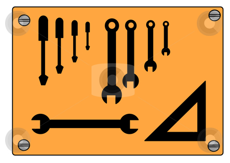 Tool Shadow Board stock vector clipart, Vector illustration of tools in silhouette arranged in an organized manner; known as a shadow board. by Robert Gebbie