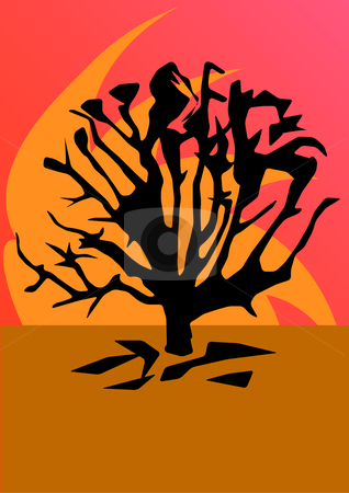 Tree Sunset stock vector clipart, Hand drawn vector illustration of an abstract tree silhouette with earth tones by Robert Gebbie