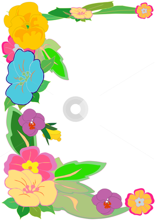 Tropical Floral Border stock vector clipart, Vector illustration of a colorful mixture of various flowers on green leaves by Robert Gebbie