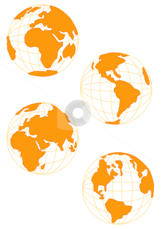 Wire Globe in Gold stock vector clipart, Vector Illustration of planet Earth in four profiles. In brown tone. by Robert Gebbie