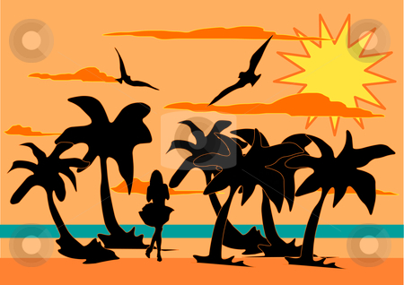 Woman at Beach Silhouette stock vector clipart, A vector illustration of the silhouette of a woman on a beach by Robert Gebbie
