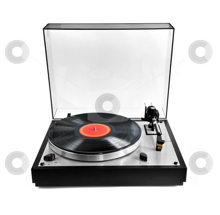 Record on turntable stock photo, Isolated manual record player with spinning vinyl lp by Elena Elisseeva
