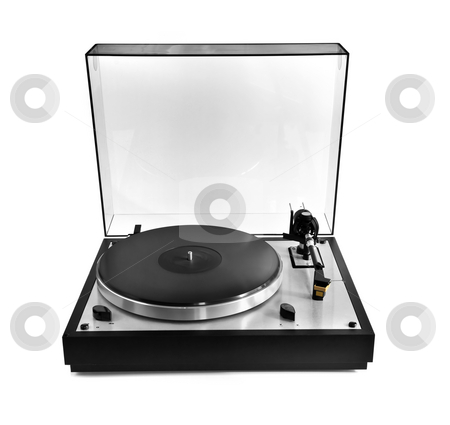Record on turntable stock photo, Isolated manual record player with clear plastic lid by Elena Elisseeva