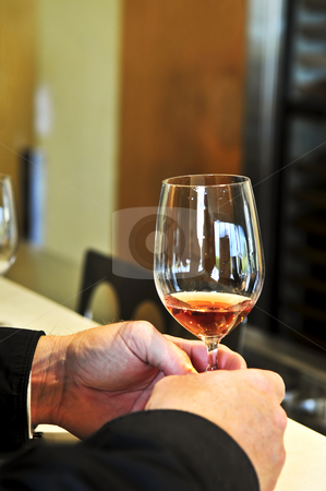 Rose wiine glass stock photo, Male hands holding glass of rose wine by Elena Elisseeva