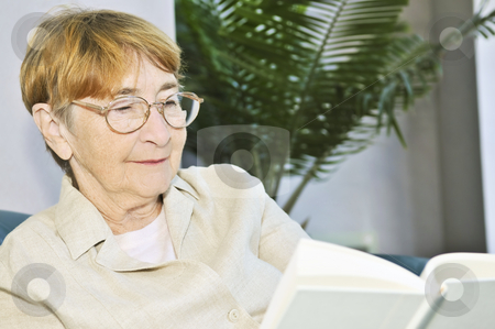 Old woman reading book stock photo, Elderly woman relaxing on couch reading a book by Elena Elisseeva