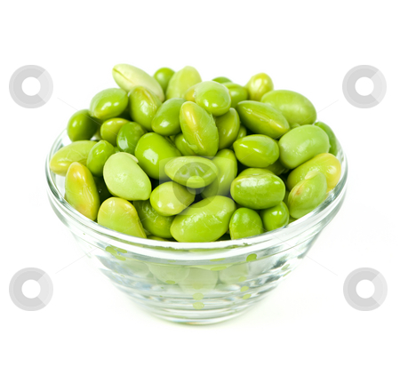 Soy beans stock photo, Edamame soy beans shelled in glass bowl by Elena Elisseeva