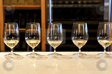 Wine tasting glasses stock photo, Row of white wine glasses in winery tasting event by Elena Elisseeva