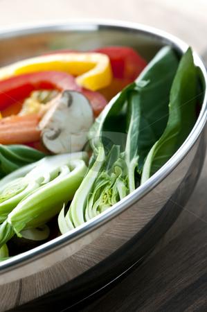 Vegetable stir fry stock photo, Vegetable stir fry of bok choy mushroom peppers carrots by Elena Elisseeva