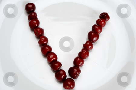 V letter stock photo, Close-up with V letter composed from cherry by Dragos Iliescu