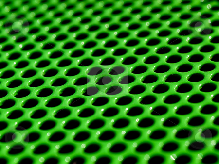 Green grid stock photo, Macro picture of a green metallic grid by Laurent Dambies
