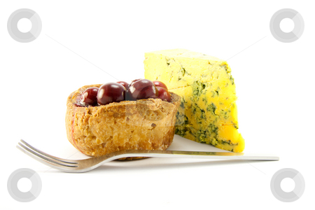 Pork Pie and Blue Cheese with Knife stock photo, Pork pie and slice of blue cheese with fork and clipping path on a white background by Keith Wilson