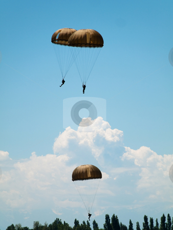 Group of parachutists stock photo, Group of parachute jumpers  close to the ground by Laurent Dambies