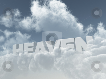 Heaven stock photo, The word heaven on cloudy sky - 3d illustration by J?