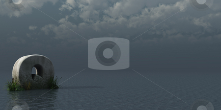 Letter Q stock photo, Letter Q rock in water landscape - 3d illustration by J?