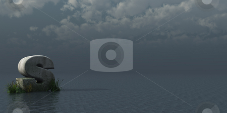 Letter S stock photo, Letter S rock in water landscape - 3d illustration by J?
