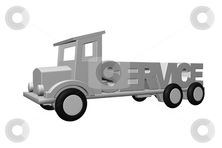 Service stock photo, The word service on an old truck on white background - 3d illustration by J?
