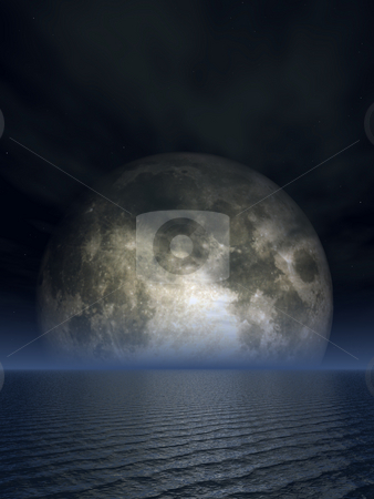 Luna stock photo, Full moon over the ocean - 3d illustration by J?