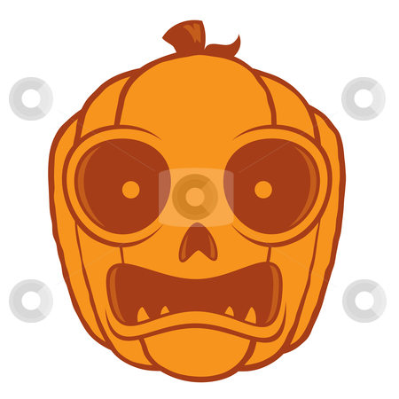 Frightened Halloween Jack O Lantern stock vector clipart, Vector cartoon illustration of a frightened Jack-O-Lantern pumpkin head. Great for Halloween decorations or designs. by John Schwegel