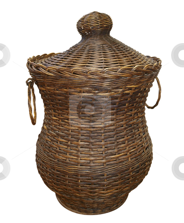 Cane Laundry Hamper stock photo, Cane Laundry Hamper isolated with clipping path. by Margo Harrison