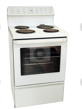 White Kitchen Stove stock photo, White Kitchen Stove isolated with clipping path. by Margo Harrison