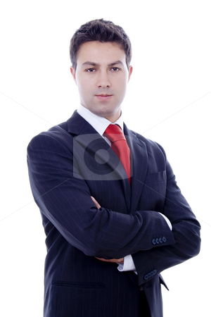 Serious man stock photo, Business man portrait white isolate by Marc Torrell