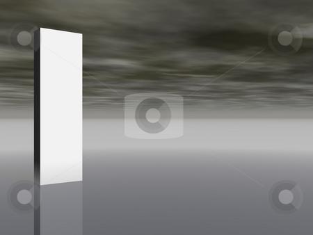 Banner stock photo, Blank white column in front of dark sky - 3d illustration by J?