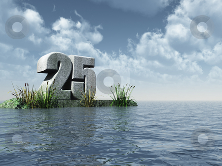 Twenty five stock photo, The number twenty five - 25 -  at the ocean - 3d illustration by J?