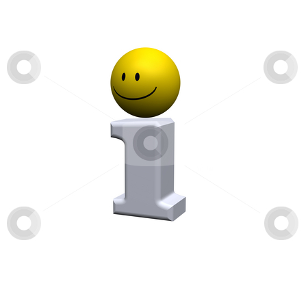 Info point stock photo, Info symbol with smiley on white background - 3d illustration by J?