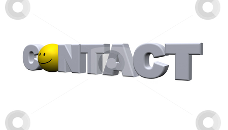 Contact stock photo, The word contact with a smiley - 3d illustration by J?