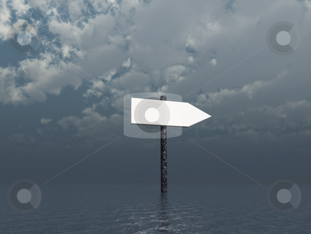 Direction stock photo, Arrow sign at the ocean - 3d illustration by J?