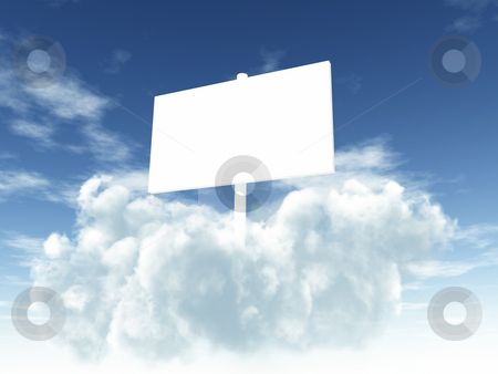 Sign stock photo, Blank white sign on clouds - 3d illustration by J?