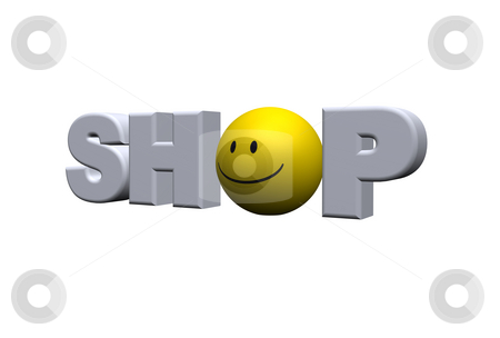 Shop stock photo, The word shop with a smiley instead the o - 3d illustration by J?