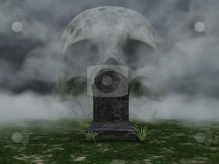 Dead stock photo, Grave and skull in fog - 3d illustration by J?