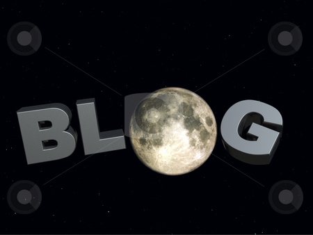 Night blog stock photo, The word blog and the moon in the universe - 3d illustration by J?