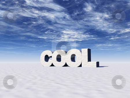 Cool stock photo, The word cool in snow and blue sky - 3d illustration by J?