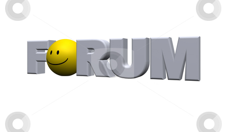Forum stock photo, The word forum with a smiley instead o - 3d illustration by J?