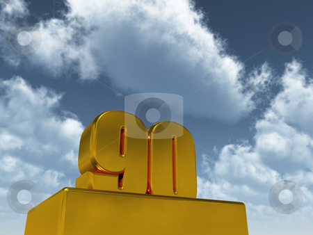 Ninety stock photo, The number ninety - 90 -  in front of blue sky - 3d illustration by J?