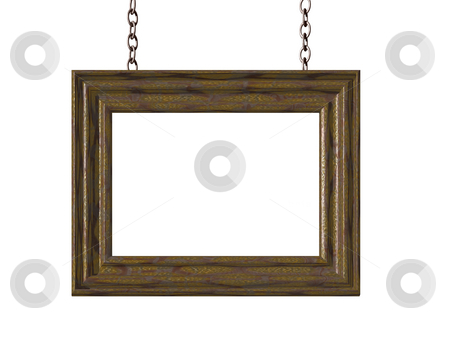 Picture frame stock photo, Picture frame on chains on white background - 3d illustration by J?
