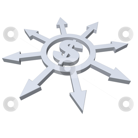 Dollar stock photo, Ring with arrows in all directions and dollar symbol - 3d illustration by J?