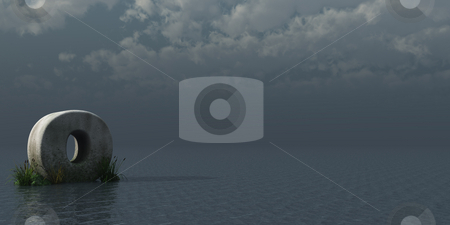 Letter O stock photo, Letter O rock in water landscape - 3d illustration by J?