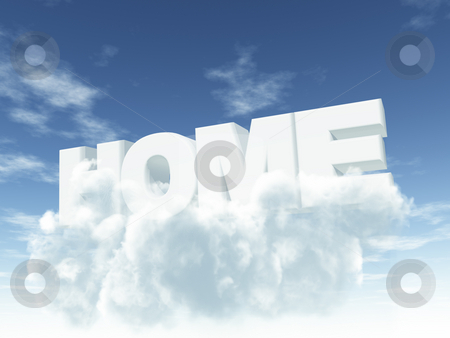 Home stock photo, The word home on clouds in the sky- 3d illustration by J?