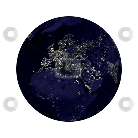 Earth Globe Lights stock photo, Earth globe with Europe lights showing on white background.  Some components of this image are provided courtesy of NASA, and have been found at visibleearth.nasa.gov by Henrik Lehnerer