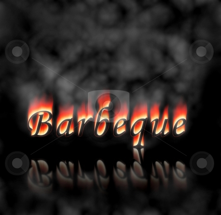 Barbeque Text On Fire stock photo, Barbeque text on fire, flames and smoke on black background. by Henrik Lehnerer
