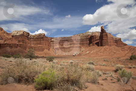 Captiol Reef National Park stock photo, View of red rock formations in Captiol Reef National Park with blue sky by Mark Smith