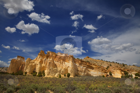 Grand Staircase Escalante National Monument  stock photo, View of the red rock formations in  Grand Staircase Escalante National Monument with blue sky by Mark Smith